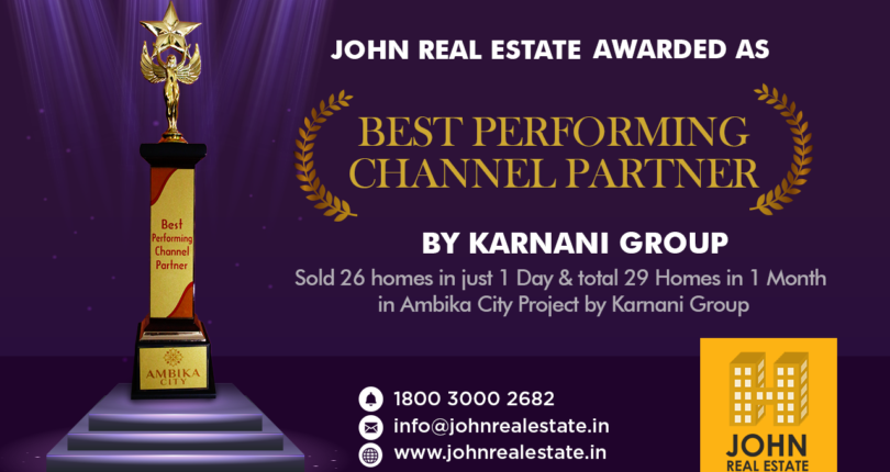 Ambika City Bhiwandi Best Realtor Award to John Real Estate